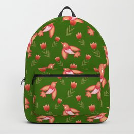 Pretty cute little wild canary birds, red blooming garden tulips, feminine nature flowers dark green pattern. Hello spring. Gift ideas for tulip lovers. Botanical floral animal artistic design. Backpack