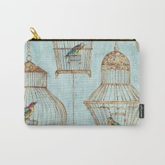 Vintage dream- Exotic colorful birds in cages on aqua background #Society6 Carry-All Pouch