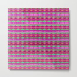 Aztec Tribal Motif Pattern in Pink, Lime and Fuchsia Metal Print