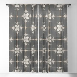 White and Black Floral Pattern Sheer Curtain