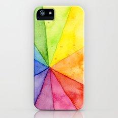 Rainbow Watercolor Geometric Pattern iPhone SE Slim Case