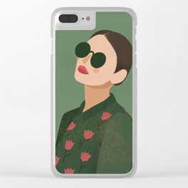 Fashion girl in green Clear iPhone Case