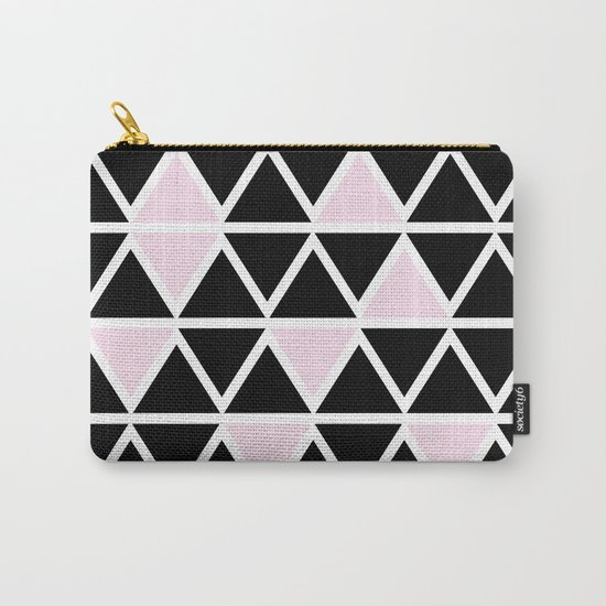 Abstract geometric triangle pattern- pink-black Carry-All Pouch