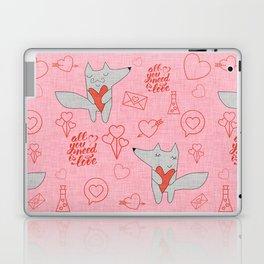 Fox in love pink Hearts Laptop & iPad Skin