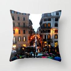 Rain in Rome in Colour Throw Pillow