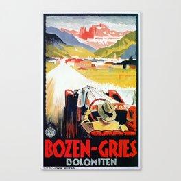 Bozen Gries Italian Alps retro convertible car Canvas Print