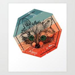 Racoon Cute Art Print