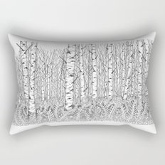 Birch Trees Black and White Illustration Rectangular Pillow
