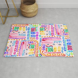 Painted Doodle on Off White Rug