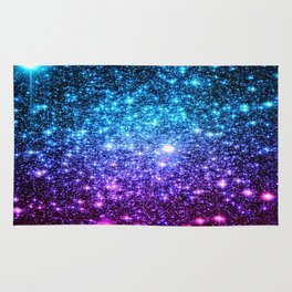 Glitter Galaxy Stars : Turquoise Blue Purple Hot Pink Ombre Rug