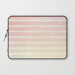 Glitter Wave Pink Sparkle Ombre Stripe Laptop Sleeve