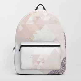 Triangles in glittering Rose quartz - pink glitter triangle pattern Backpack