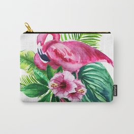 watercolor illustration of a pink flamingo with tropical castings and flowers Carry-All Pouch