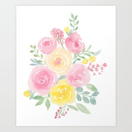 Spring summer pink yellow floral watercolor Art Print