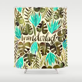 Tropical Wanderlust – Turquoise & Olive Shower Curtain