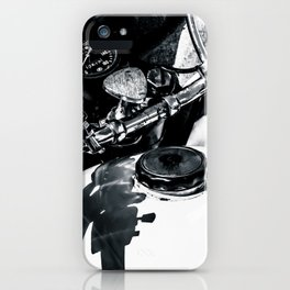 Details Of A Vintage Motorcycle Black White iPhone Case