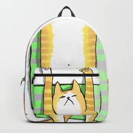 Two red cats on striped rugs Backpack