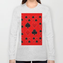 RED & BLACK PLAYING CARD ART ON RED Long Sleeve T-shirt