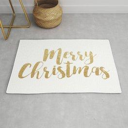 Merry Christmas | Gold Glitter Script Rug