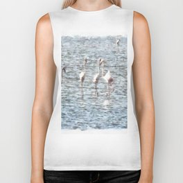A Flamboyant Pat Of Flamingos Biker Tank