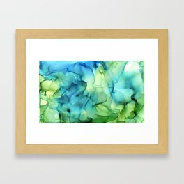 Blue Green Spring Marble Abstract Ink Painting Framed Art Print