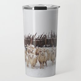 Snowy Sheep Stare Travel Mug