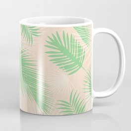 pink & green palm branch pattern, tropical design, boho design, tropical art, beach pattern Coffee Mug