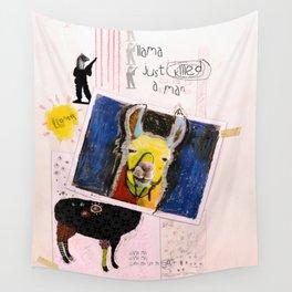 Llama Just Killed A Man mixed media collage llama art by Michel Keck Wall Tapestry