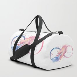 Infinity Symbol with Pink Feather Duffle Bag
