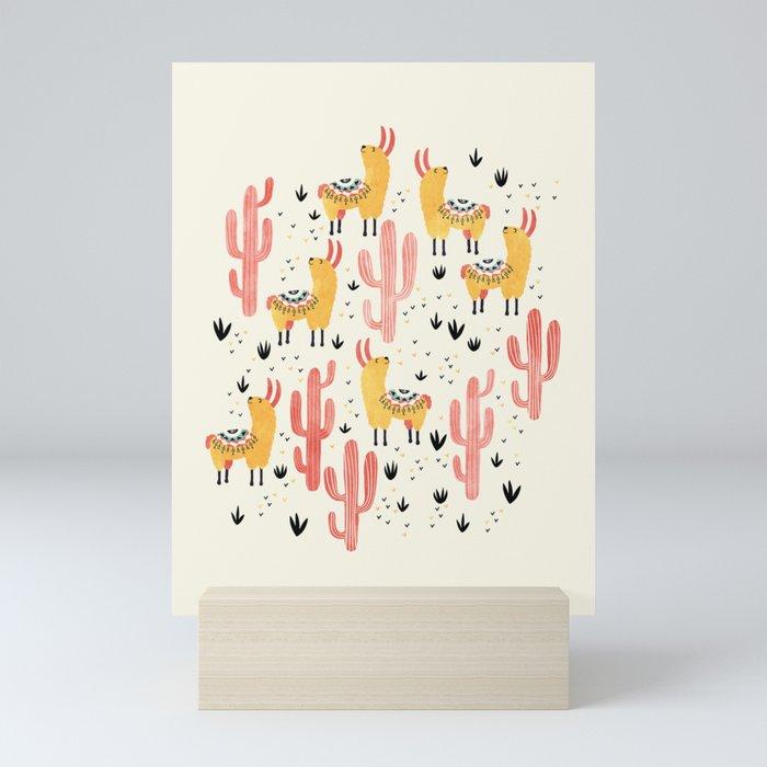 Yellow Llamas Red Cacti Mini Art Print