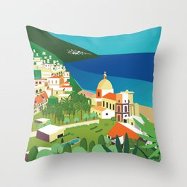 Amalfi Italy vintage travel poster city Throw Pillow