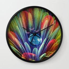 Dream world with butterflies, fractal mixed media art Wall Clock