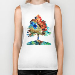 All Seasons Tree 3 - Colorful Landscape Print Biker Tank