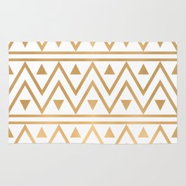 White & Gold Chevron Pattern Rug