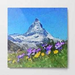 Matterhorn - Acrylic & Palette Knife Paint on Canvas Metal Print
