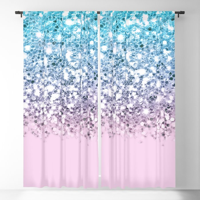 Sparkly Unicorn Blue Lilac & Pink Ombre Blackout Curtain