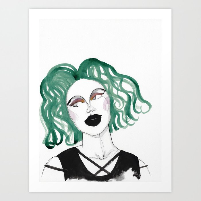 Alien - green hair and black lips Art Print