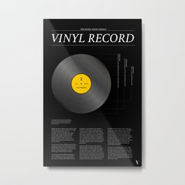 The Iconic Vinyl Record (Black, Yellow) Metal Print