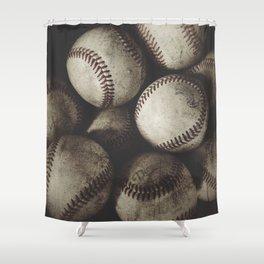 Grungy Baseballs on a Shelf Shower Curtain