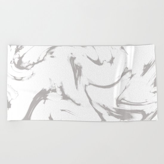 Marble Black and White Grey Gray Marble Swirl Beach Towel
