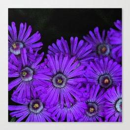 Purple succulent flowers watercolor effect Canvas Print
