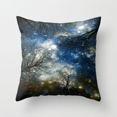 Black Trees Blue Olive Brown Space Throw Pillow