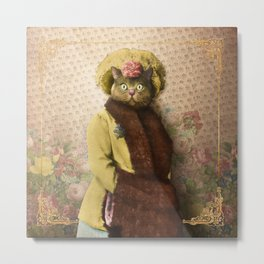 Lady Vanderkat with Roses Metal Print