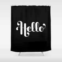 lettering Shower Curtains featuring Hello Lettering by Roberlan Borges