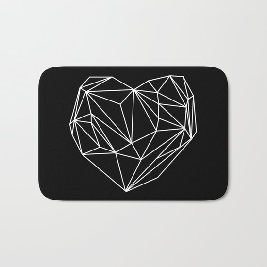 Heart Graphic (Black) Bath Mat