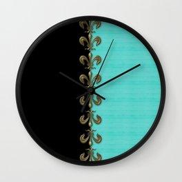 Turquoise Fleur-de-lis  Wall Clock