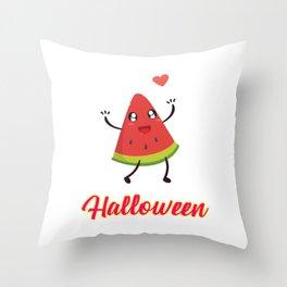 Halloween Watermelon Motivational Design Throw Pillow