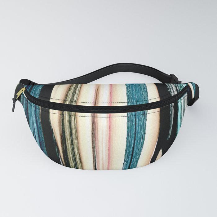 blue turquoise black grey beige pink abstract striped pattern Fanny Pack
