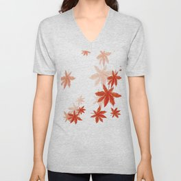 Falling red maple leaves watercolor painting Unisex V-Neck