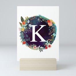 Personalized Monogram Initial Letter K Floral Wreath Artwork Mini Art Print